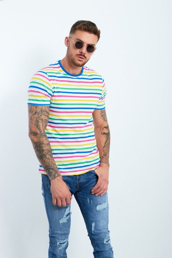 Candy Stripe Muscle Fit T-Shirt