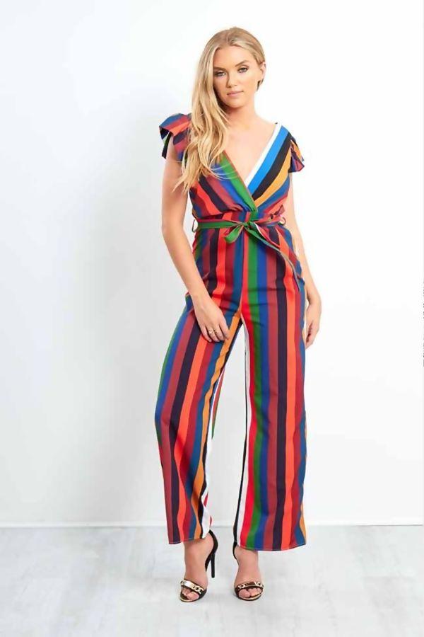 Candy Stripe Plunge Knot Jumpsuit