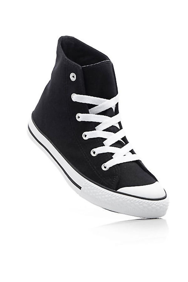 Canvas High Top Navy Lace Up Trainers