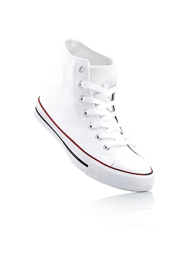 Canvas High Top White Lace Up Trainers