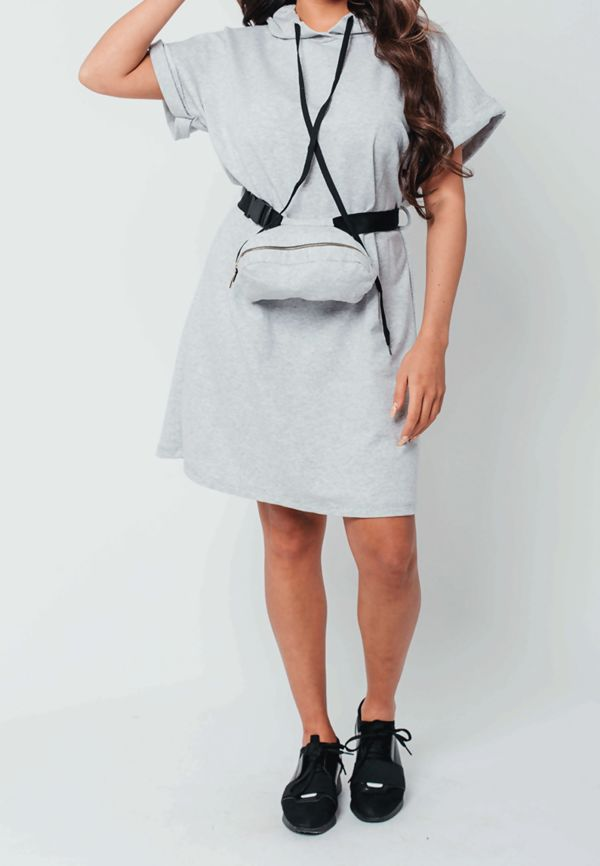 Celeb Sweat Dress with Belted Bag