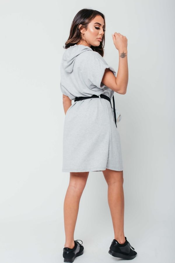 Grey Celeb Sweat Dress with Belted Bag