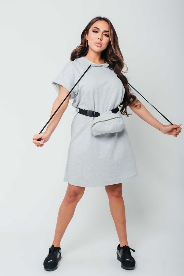 Khaki Celeb Sweat Dress with Belted Bag