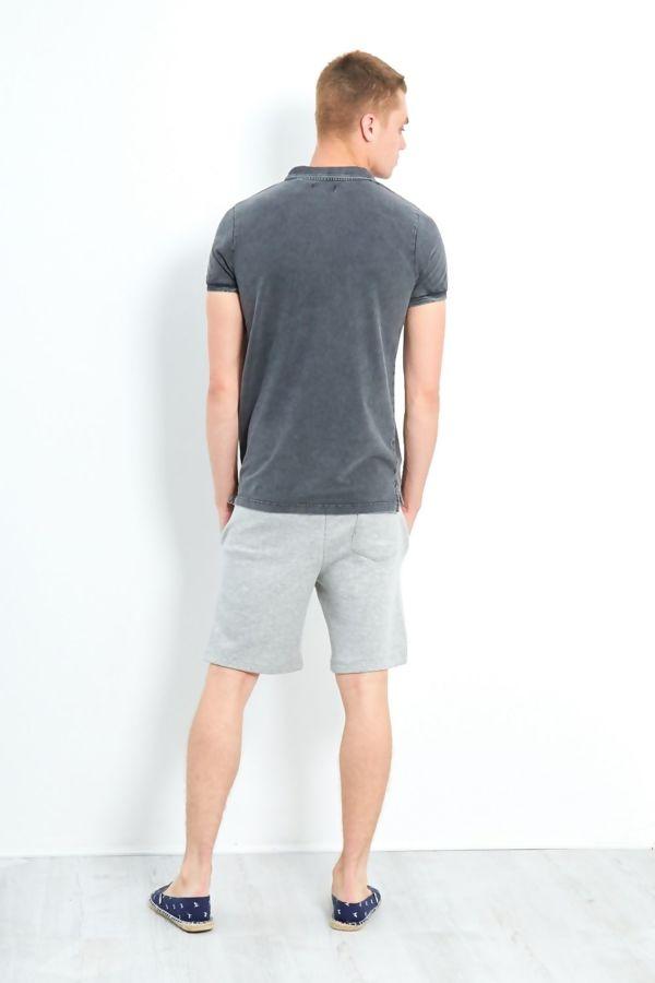 Charcoal Acid Wash Polo T-Shirt