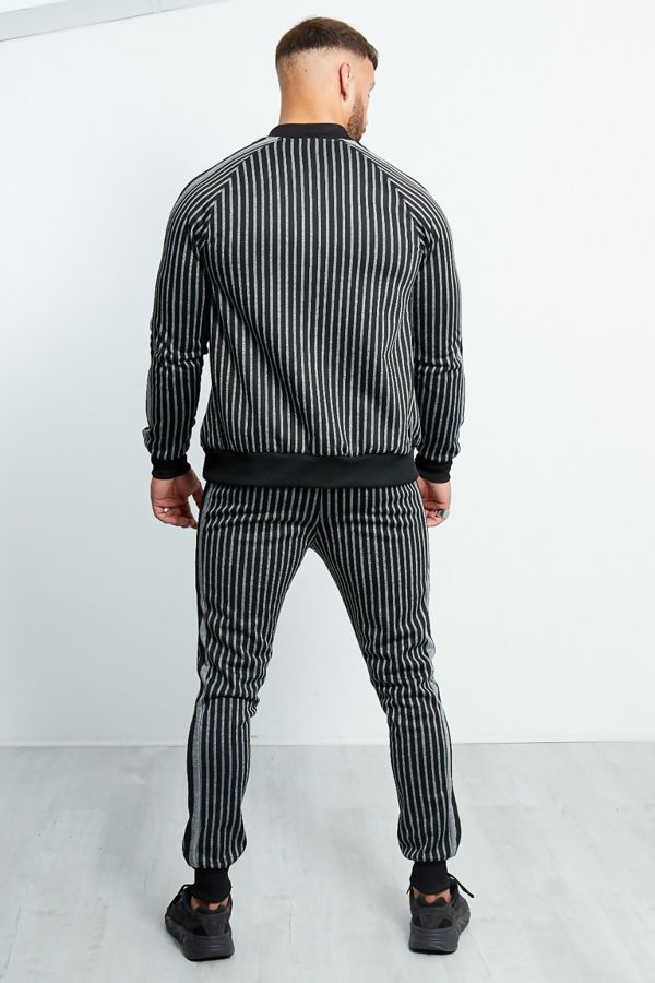 Charcoal And Black Striped Zipped Trough Tracksuit