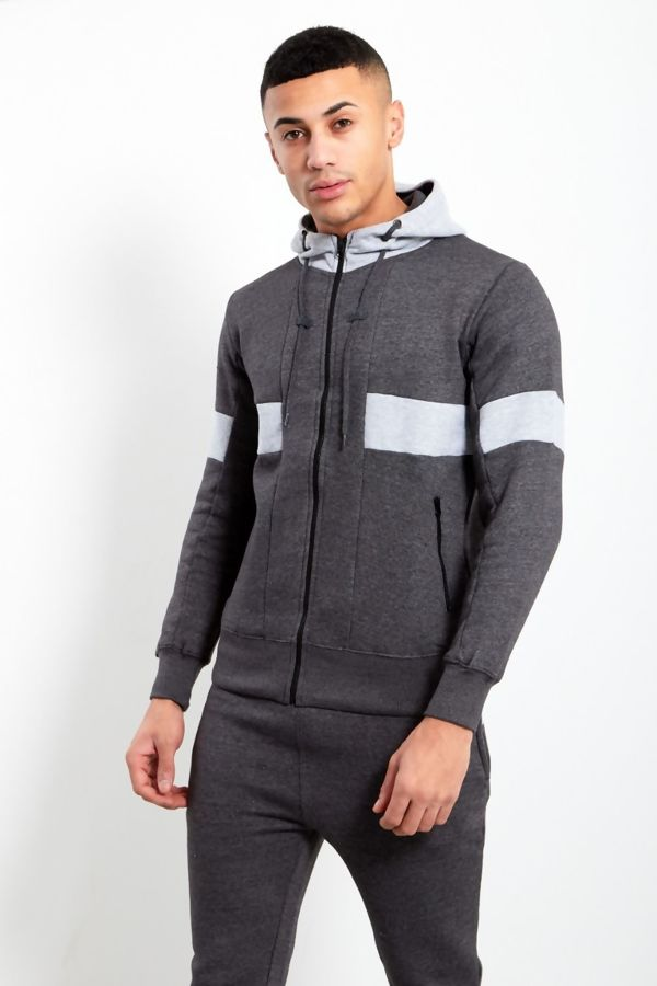 Charcoal And Grey Contrast Panel Hood Tracksuit