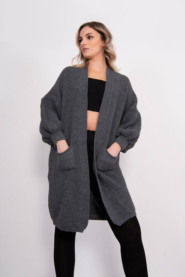 Charcoal Balloon Sleeve Pocket Front Knitted Cardigan