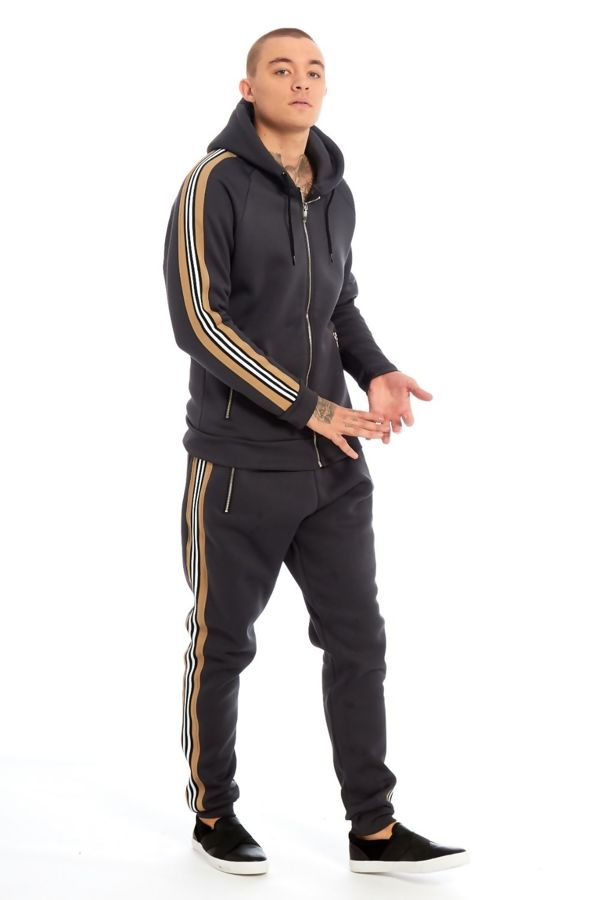 Charcoal Bandage Tape Hood Skinny Fit Tracksuit