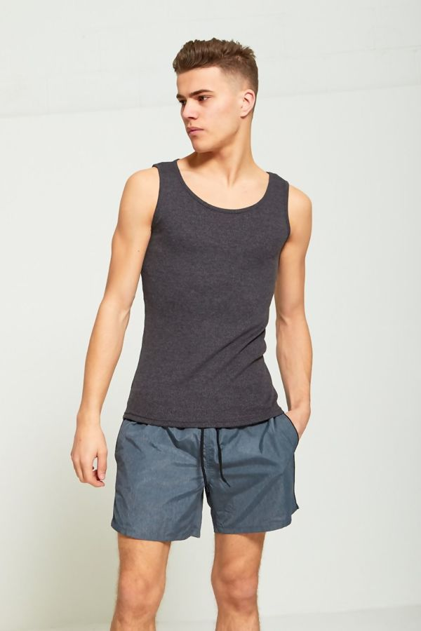 Charcoal Basic Ribbed Vest