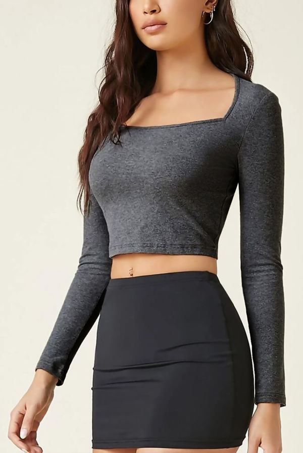 Charcoal Basic Square Neck Crop Tee