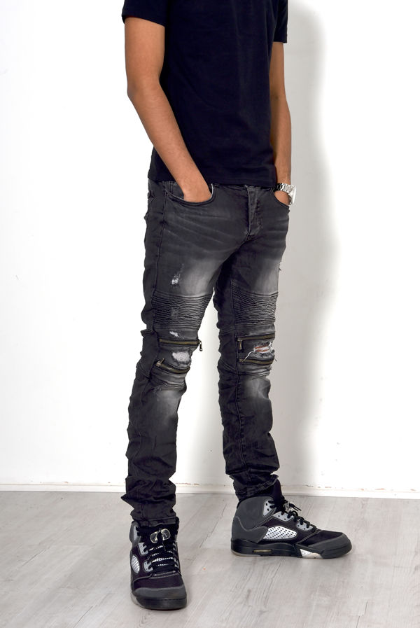 Charcoal Biker Rib Skinny Jeans