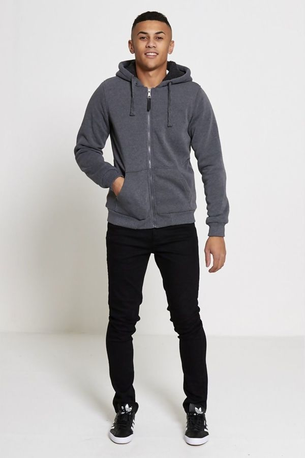 Charcoal Borg Lined Zip Through Hoodie