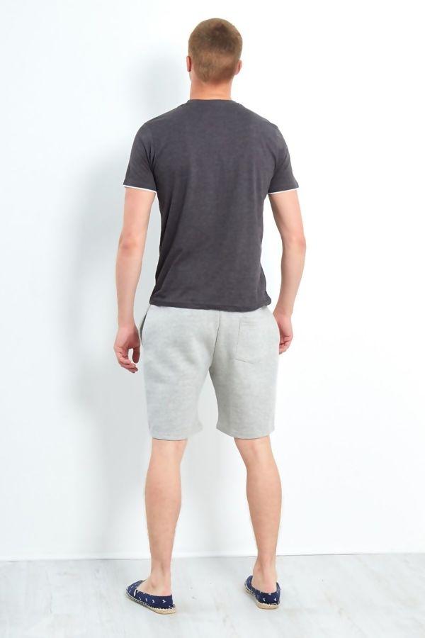Charcoal Button Detail V-Neck T-Shirt