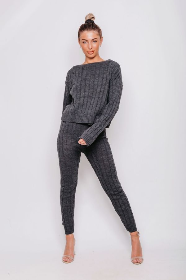 Charcoal Cable Knit Long Sleeve Cropped Top And Legging Lounge Set