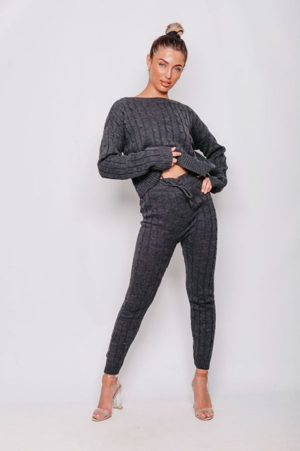 Grey Cable Knit Long Sleeve Cropped Top And Legging Lounge Set