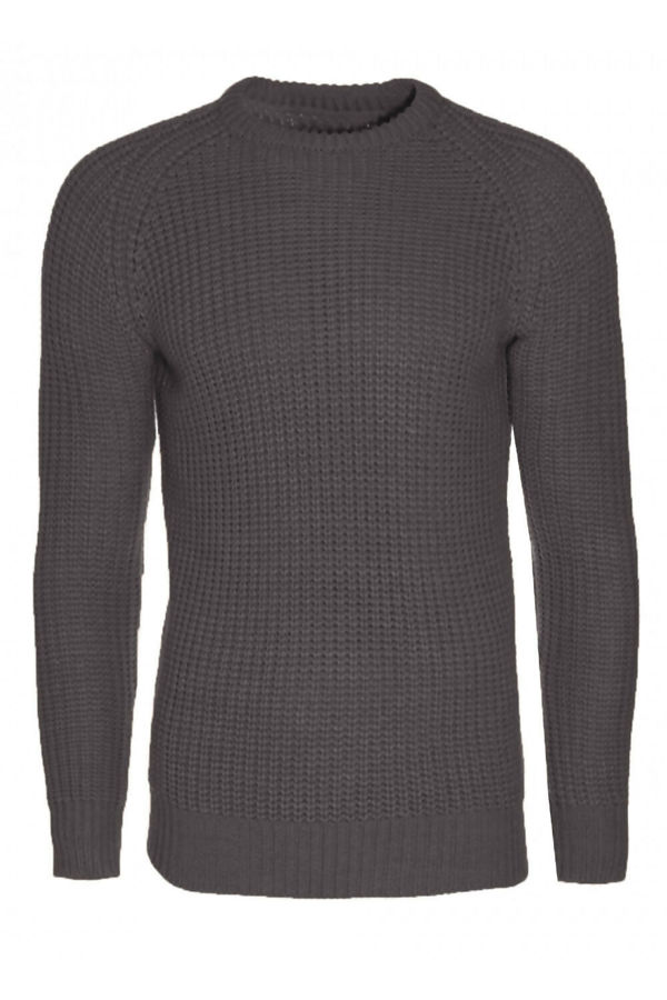 Charcoal Cable Knit Patchwork Jumper