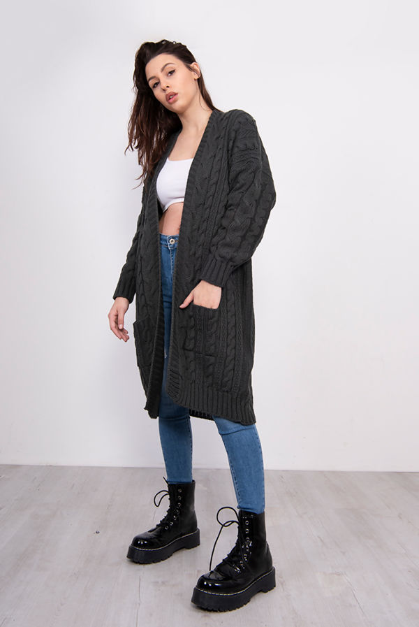 Charcoal Cable Knit Pocket Front Cardigan