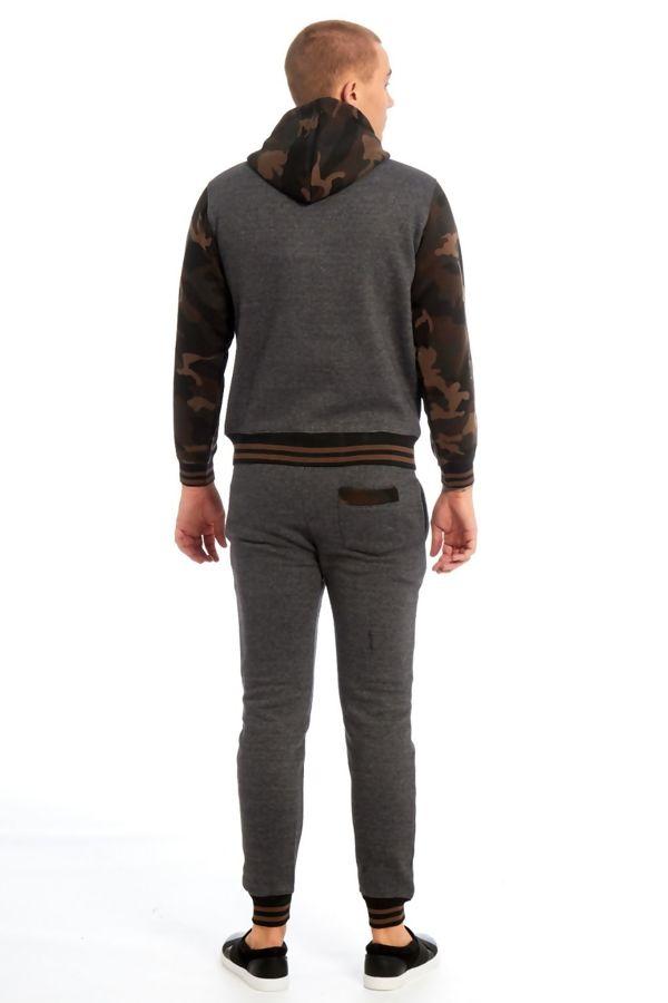 Charcoal Camo Spliced Panel Skinny Fit Tracksuit