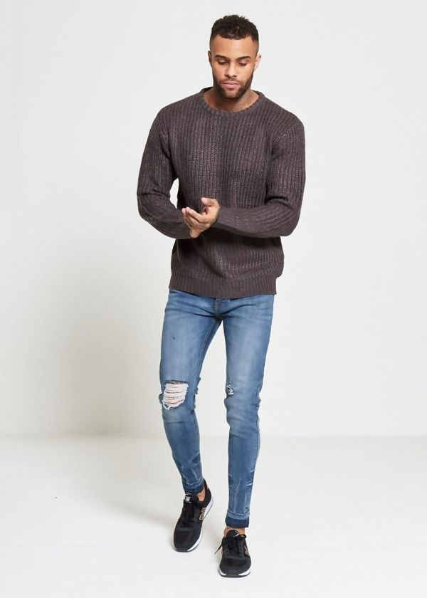 Charcoal Chain Knitted Jumper