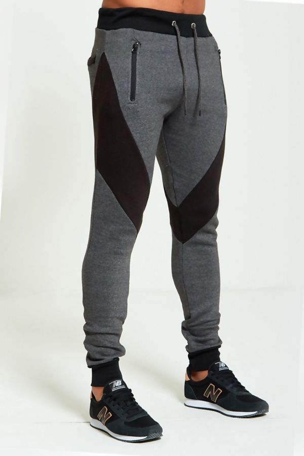 Charcoal Contrast Panel Jogging Bottom