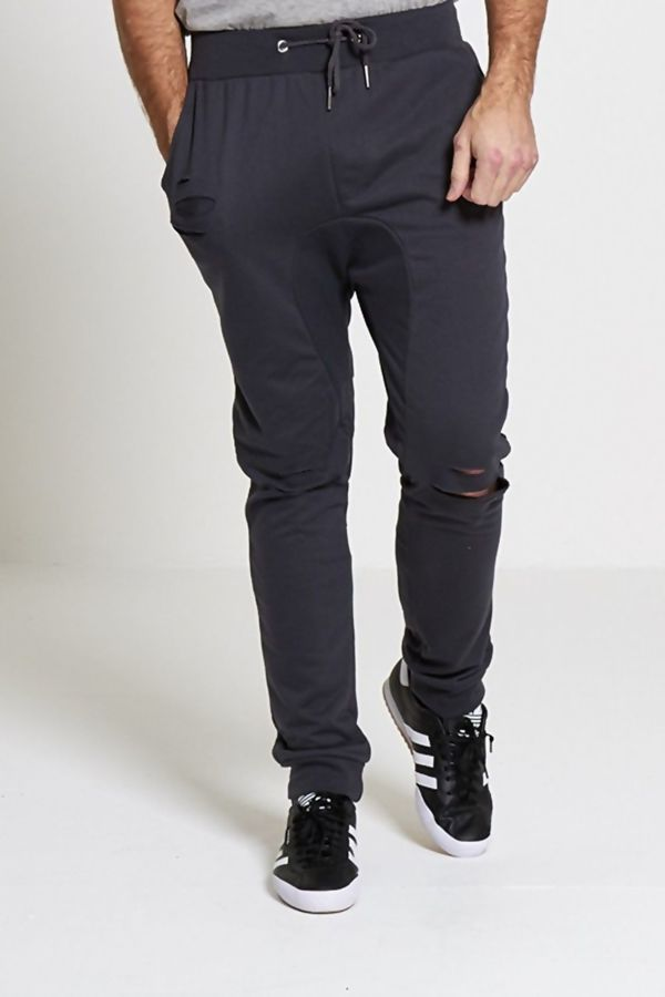 Charcoal Distressed Athleisure Jogging Bottoms