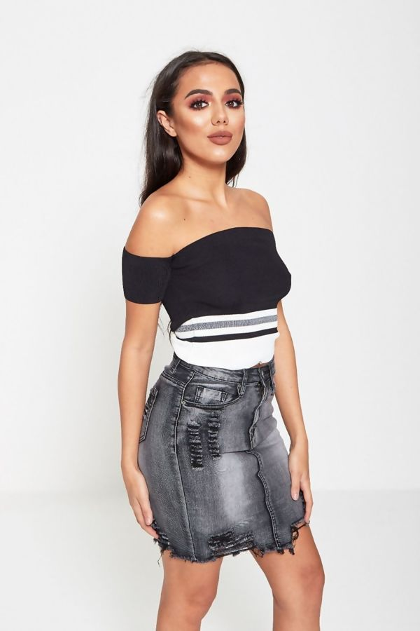 Charcoal Distressed Hem Denim Skirt