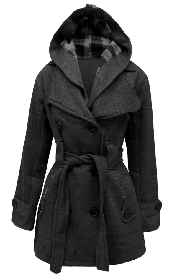 Charcoal Double Breasted Fleece Hood Belted Coat