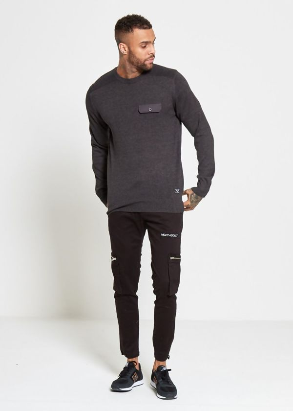 Charcoal Flap Pocket Fine Knit Jumper