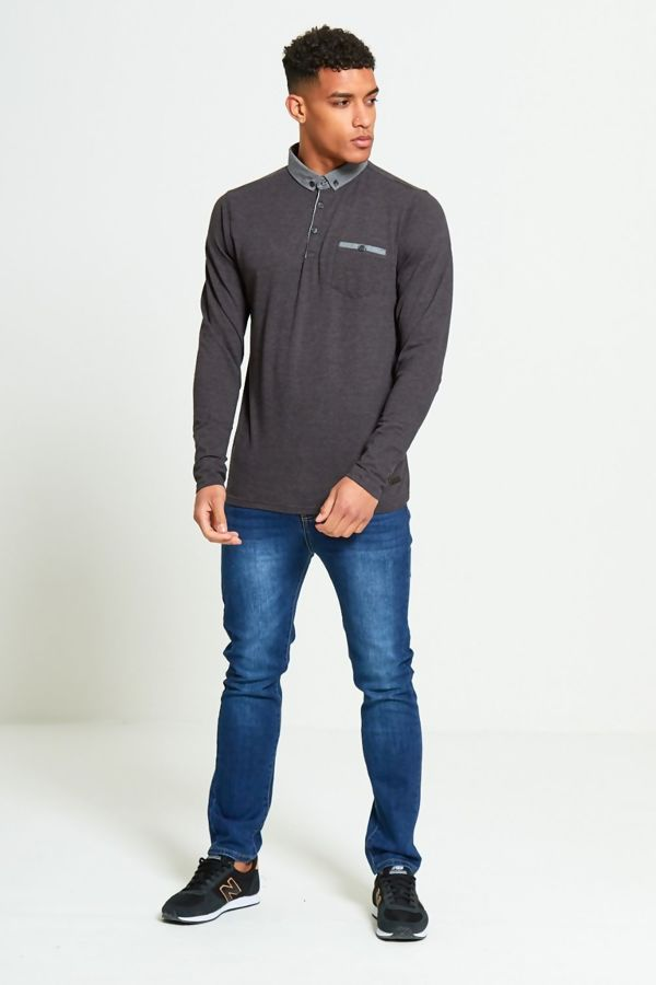 Charcoal Long Sleeve Welt Polo T-Shirt