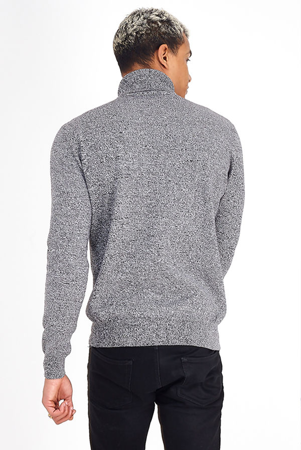 Charcoal Marl Polo Neck Jumper