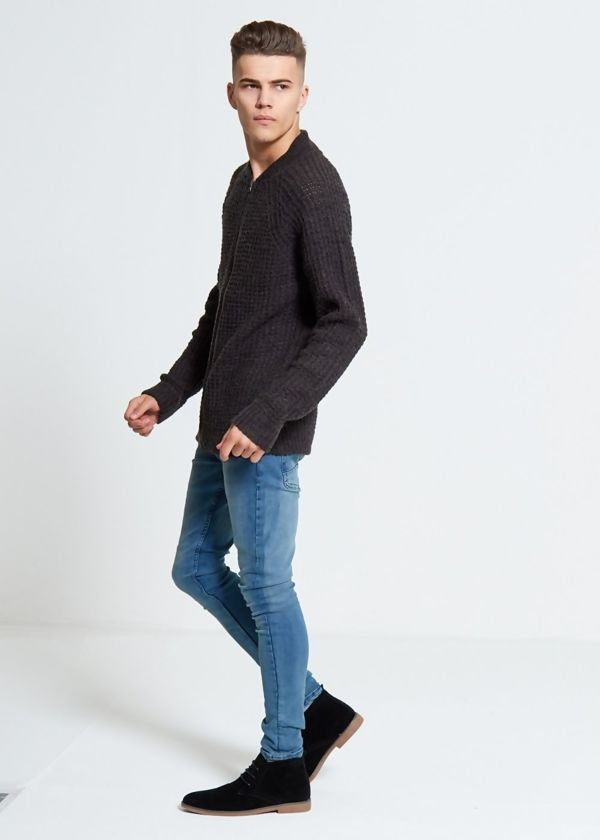Charcoal Merley Knitted Cardigan