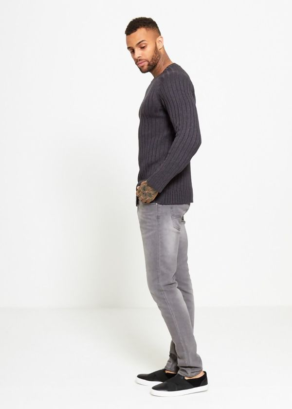 Charcoal Muscle Fit Fine Knit Jumper