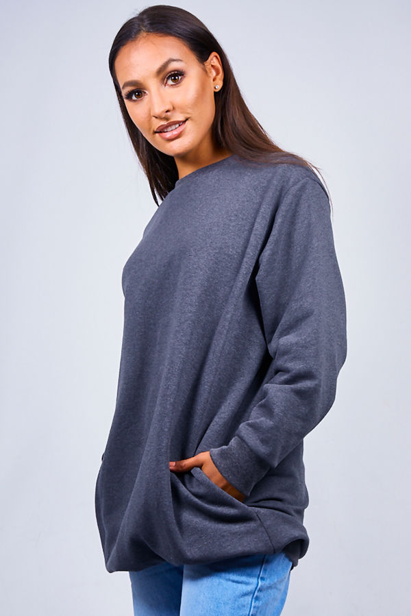 Charcoal Oversized Pocket Sweat Dress