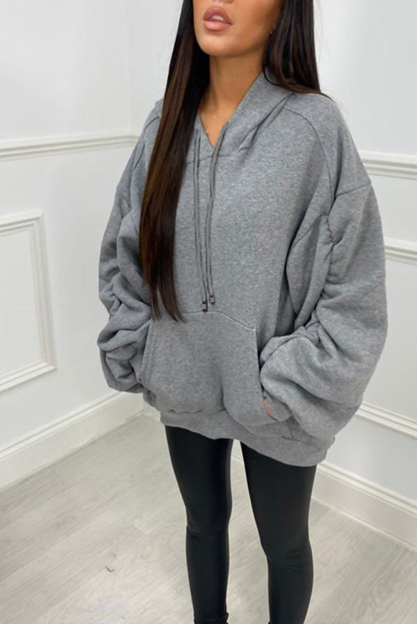 Red Oversized Ruched Sleeve Hoodie