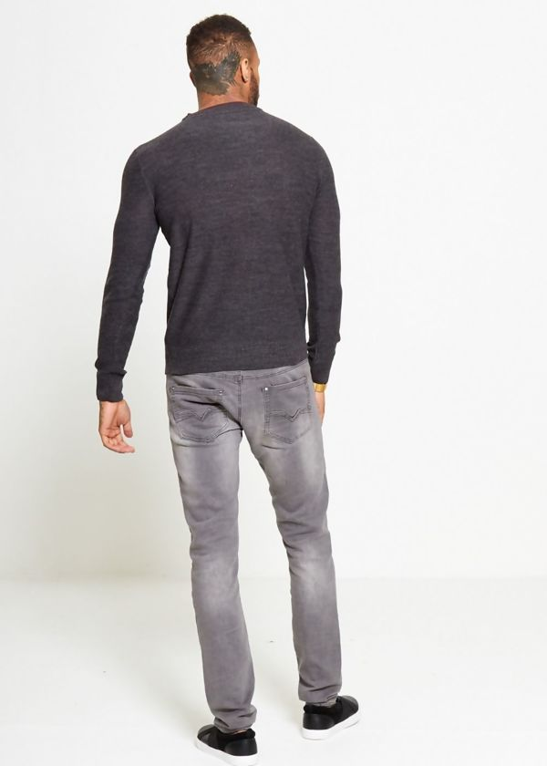 Charcoal Plain Contrast Jumper