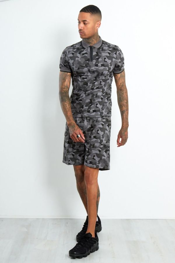 Charcoal Polo Camo Contrast T-Shirt and Short Set