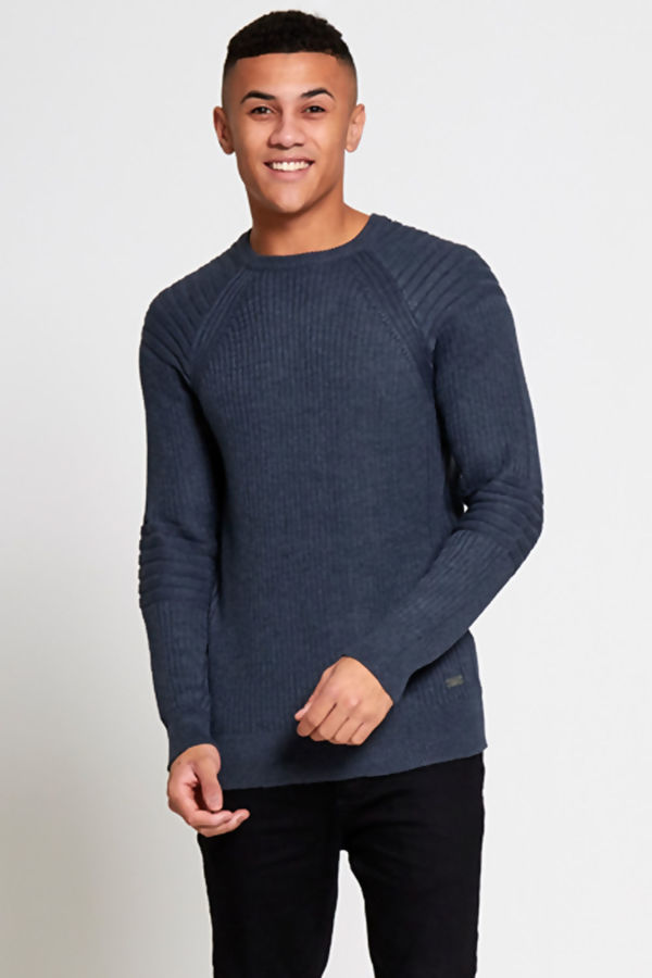 Charcoal Ribbed Biker Jumper
