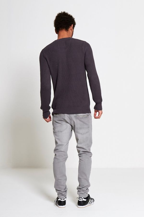 Charcoal Ribbed Knit Crew Neck Jumper