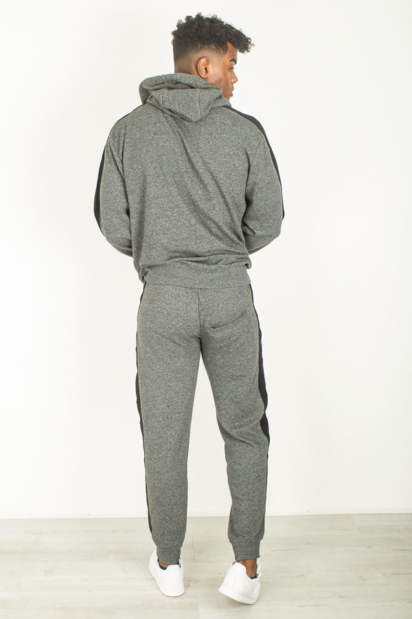 Charcoal Ribbed Striped Tracksuit