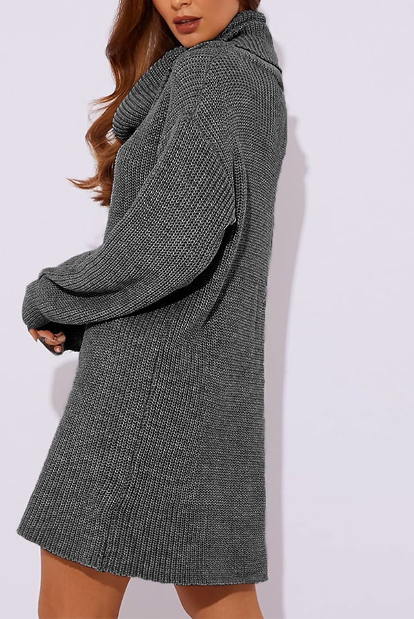 Charcoal Roll Neck Knitted Jumper Dress