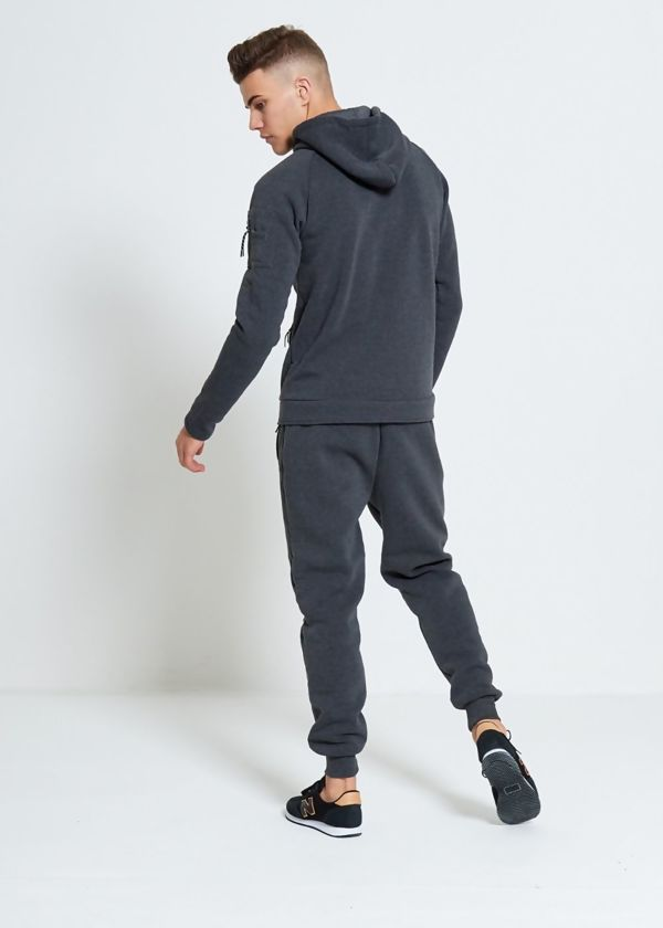 Charcoal Skinny Fit Hood Tracksuit