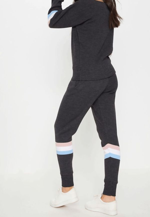 Charcoal Stripe Detail Knitted Jogger Lounge Set