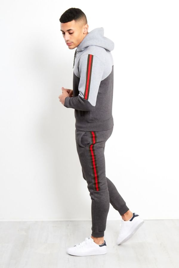 Charcoal Tape Spliced Panel Skinny Fit Tracksuit