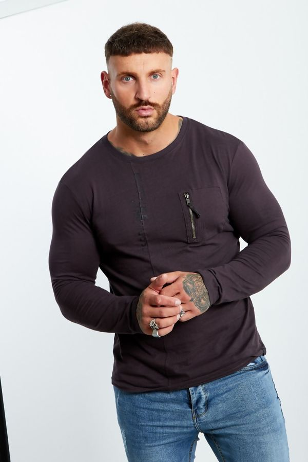 Charcoal Zip Pocket Front Long Sleeve T-shirt