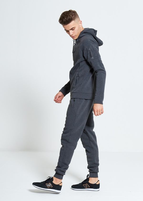 Charcoal  Zip Through Skinny Fit Hood Tracksuit