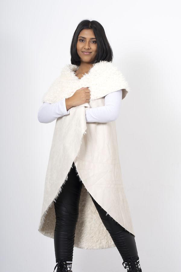 Cream Shearling Inside Open Front Suede Vest Coat