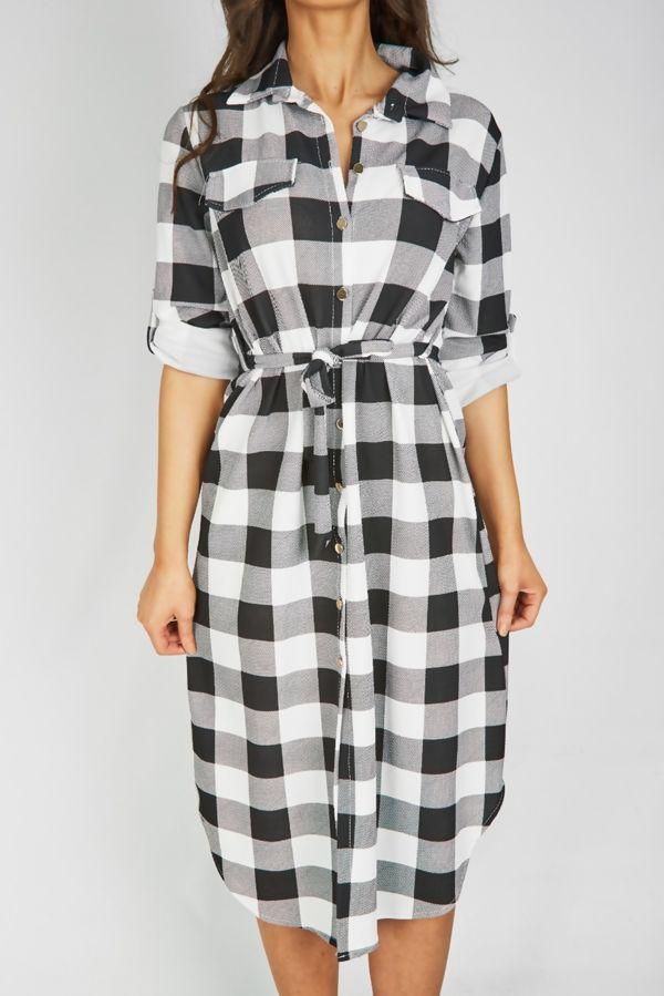White Checked Tie Midi Shirt Dress