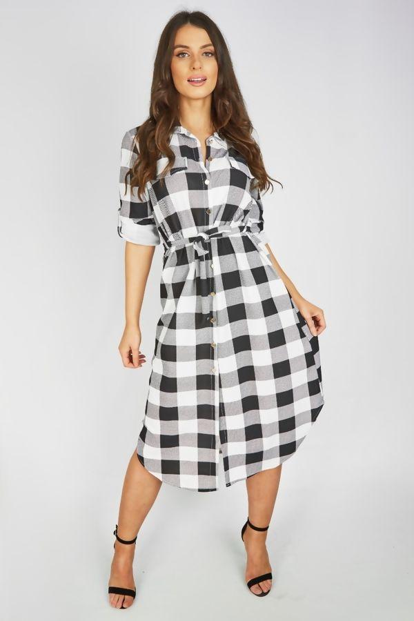 Checked Tie Midi Shirt Dress