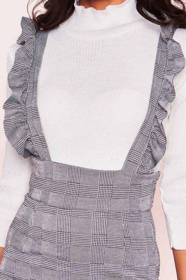 Grey Check Print Frill Pinafore Dress