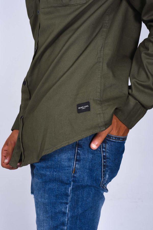 Khaki Chest Pocket Button Up Shirt